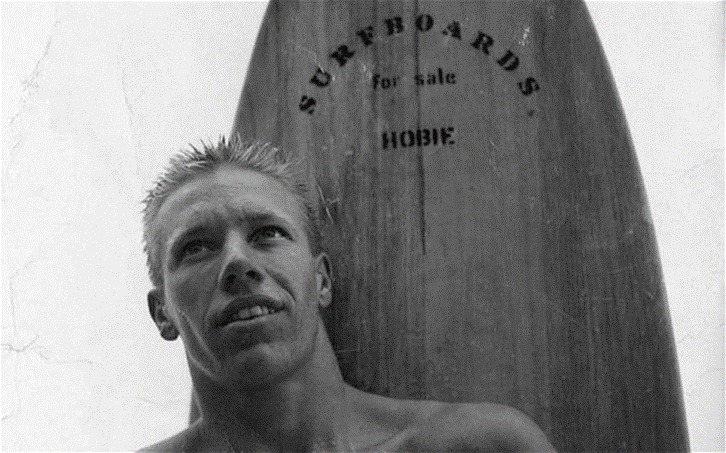 Hobie Alter and surfboard